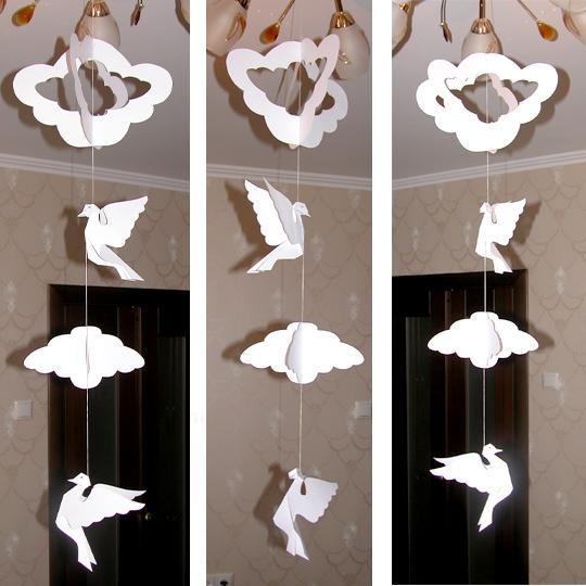 как украсить зал, объемные украшения из бумаги