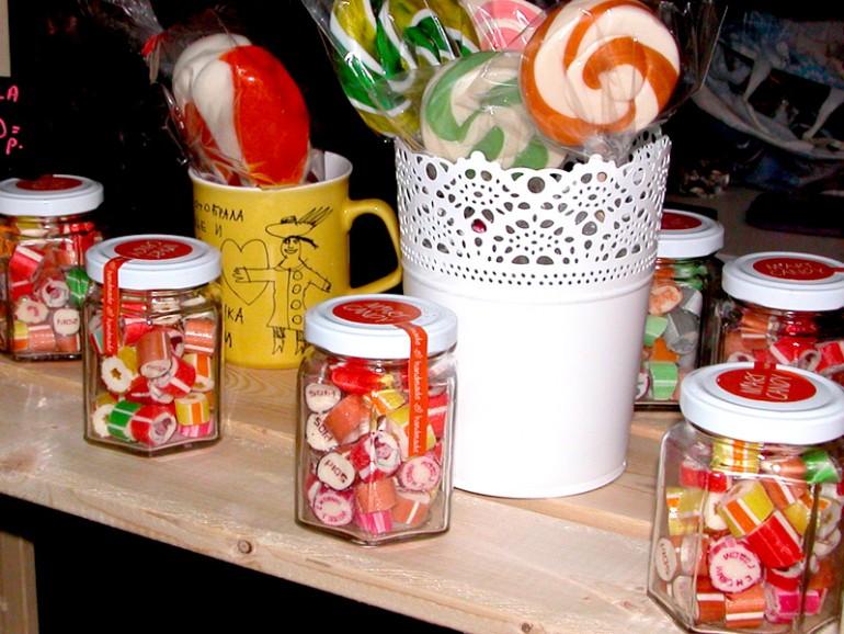 карамель в баночках для кенди-бар