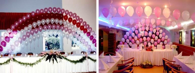 оформление шарами на свадьбу фото
