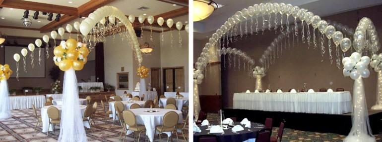 цепочки из шаров над свадебным залом