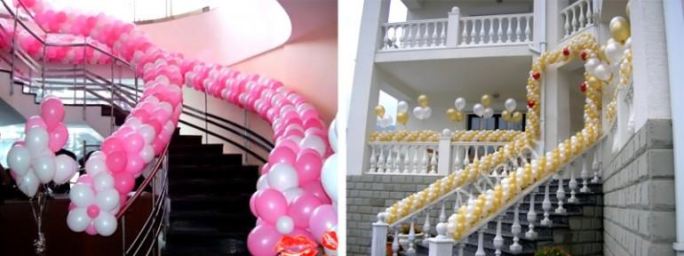 гирлянды на лестницах