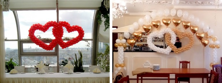 сердца из шаров на свадьбе