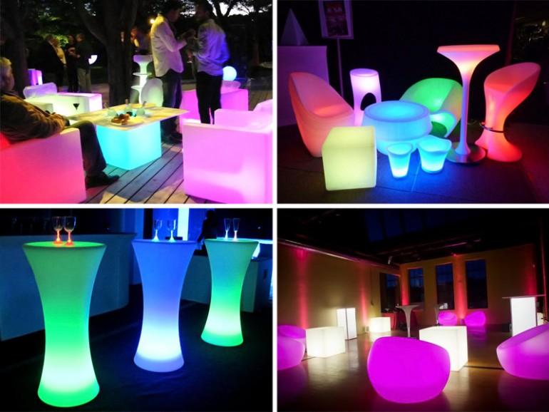 светящиеся столы и кресла