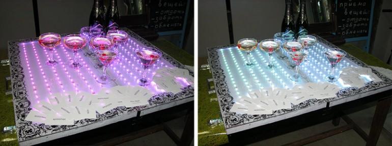 поднос со светодиодами