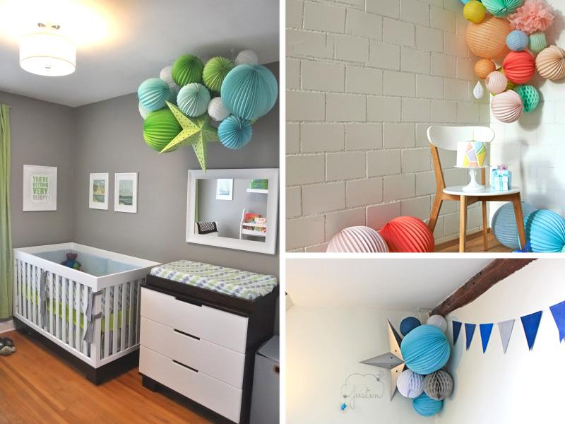 бумажный декор в детской комнате