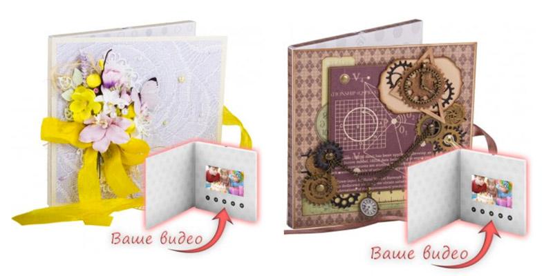 открытки с видеоэкраном и дизайнерским оформлением