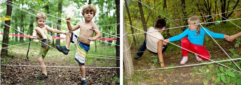 веревочный лабиринт на детском празднике