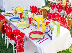 сервировка стола одноразовой посудой на детский день рождения