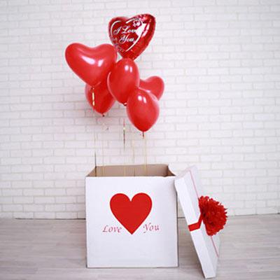 коробка с шарами - сюрприз для юбиляра