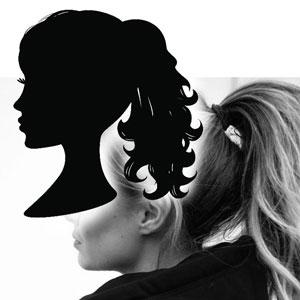 подарок девочкам - силуэтный портрет по фото